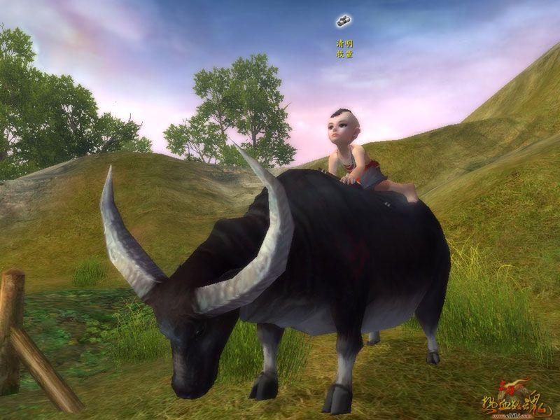牧童骑牛矢量图