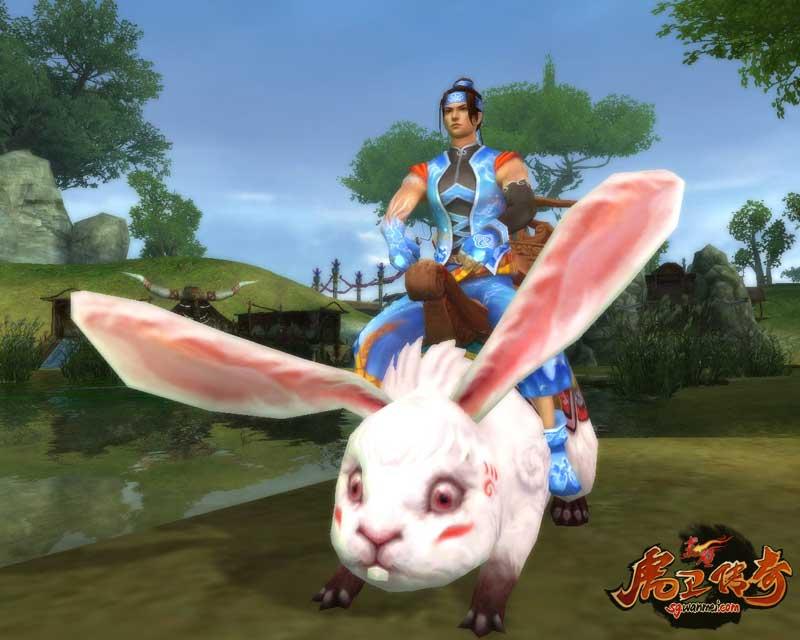 男生骑上这只小兔子后更可爱了